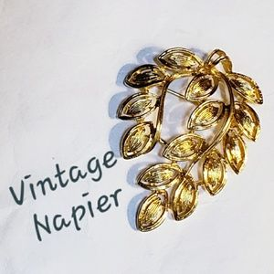 VTG Gold Tone Napier Foliage Spray Brooch